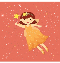 Cute little orange fairy vector