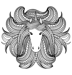 Adult coloring book page with unicorn wave style vector image