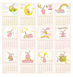 Baby bunny calendar 2015 - week starts with sunday vector