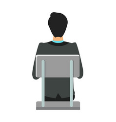 Back view of businessman sitting on chair vector