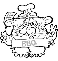 Barbeque Dad - BW vector image vector image