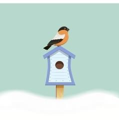 Bird sitting on birdhouse vector