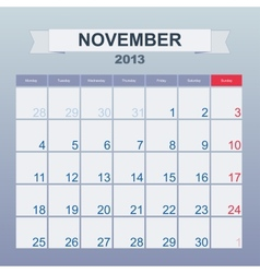 Calendar to schedule monthly november 2013 vector