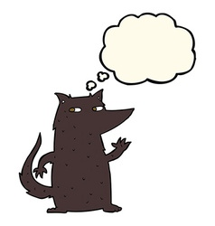 Cartoon wolf waving with thought bubble vector