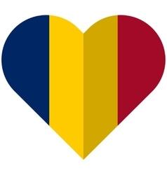 Chad flat heart flag vector image