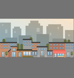 City building houses town view silhouette skyline vector
