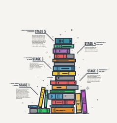 Color book pile line infographics vector