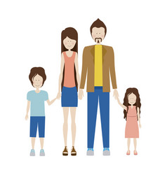Color silhouette family and dad with jacket and vector
