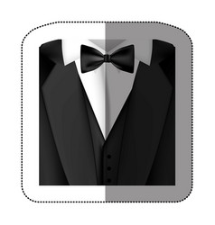 color sticker suit with bow tie icon vector image vector image
