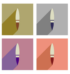 Concept of flat icons with long shadow rocket vector