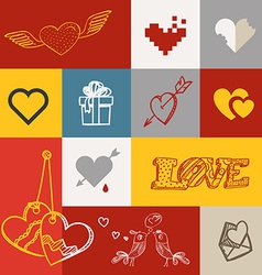 Different abstract heart icons collection vector image vector image