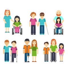 Disabled people with helping vector