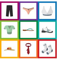 Flat icon clothes set of cravat lingerie vector