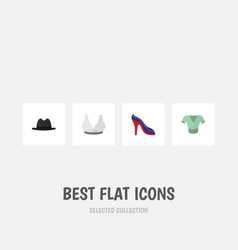 Flat icon clothes set of heeled shoe panama vector