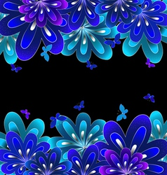 Flower blue on black background vector image