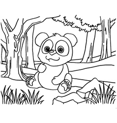 Giant panda coloring pages vector image vector image