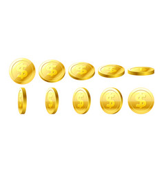 gold 3d coins set vector image vector image