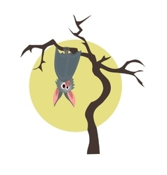 Grey bat hanging on a dry tree vector