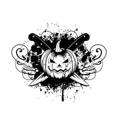 halloween pumpkin with skulls vector image vector image