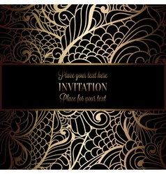 Invitation decorative golds 09 vector