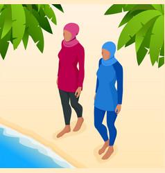 muslim woman in swimsuit isometric muslim vector image