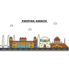 Pakistan karachi city skyline architecture vector