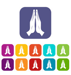 prayer icons set flat vector image