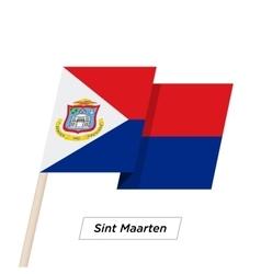 Sint maarten sharp ribbon waving flag isolated on vector