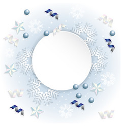 snowflake ribbon background vector image