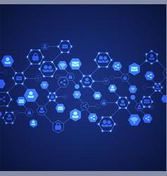 social media background network concept vector image vector image