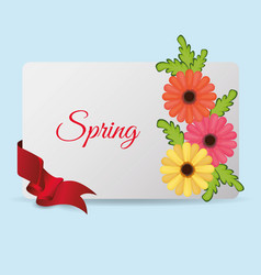 spring card flowers ribbon vector image