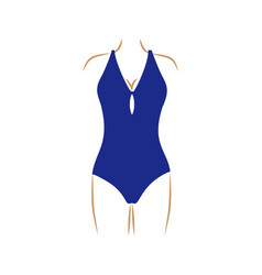 Thin contour of woman in one piece swimsuit dark vector
