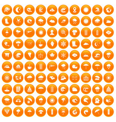 100 weather icons set orange vector