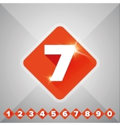Number set orange - flat design vector