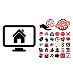 Realty monitoring flat icon with bonus vector