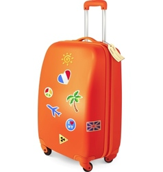 Orange travelling baggage suitcase with stickers vector