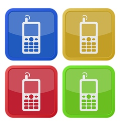 Four square color icons old mobile phone vector