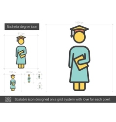 Bachelor degree line icon vector