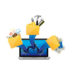 Computer with files tools outside icon vector