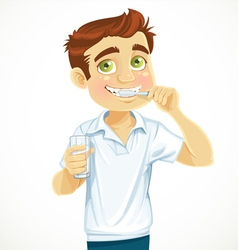 Cute man with a glass of water brushing his teeth vector