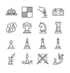 Chess line icon set vector