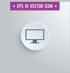 Computer screen symbol icon on gray background vector
