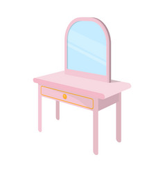 Dressing table with mirror furniture and interior vector