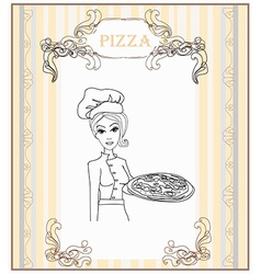 Young waitress with pizza doodle vector