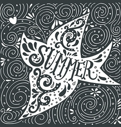 Hand drawn summer print with a bird and hand vector image