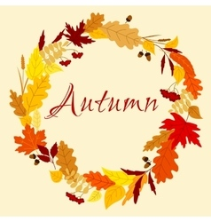 Autumn frame with leaves herbs and acorns vector