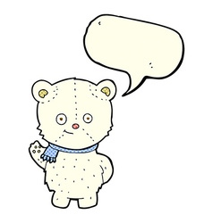 Cute cartoon polar bear waving with speech bubble vector