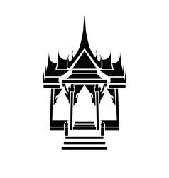 Pagoda and temple silhouette black icon vector