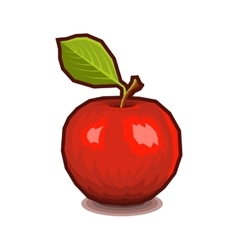 Red apple with leaf icon vector