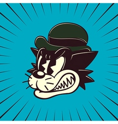 Vintage cartoon angry cat character vector